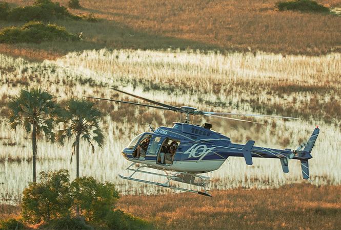 Flying over the Okavango delta with Helicopter Horizons
