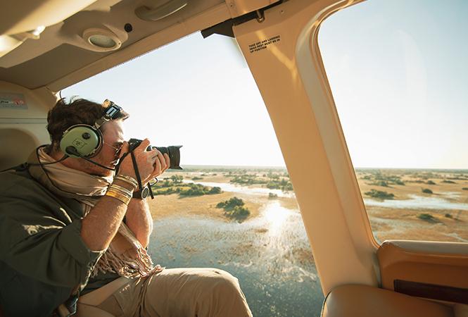 Photography during a scenic flight over the Okavango Delta