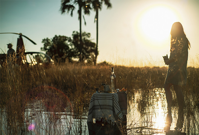 Helicopter safari and Okavango craft gin experience