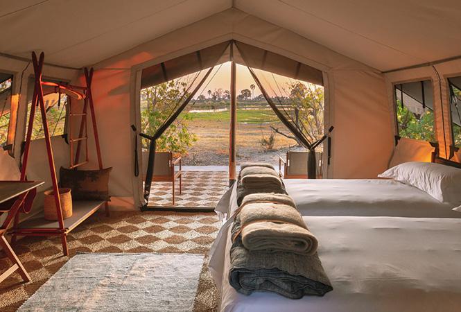 Inside an overnight luxury lodge