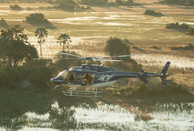 On tour with Helicopter Horizons, in flight over the Okavango delta