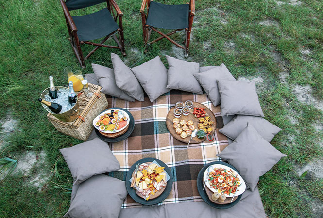 Lunch on safari with Helicopter Horizons