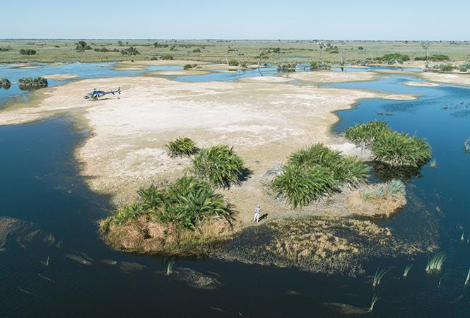Helicopter safaris through the Okavango Delta in Botswana
